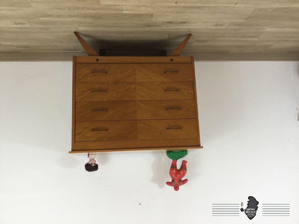 commode pieds compas 1950. Black Bedroom Furniture Sets. Home Design Ideas